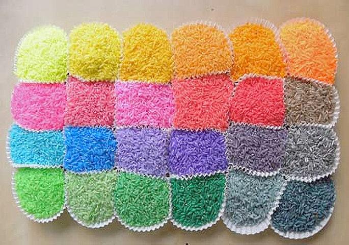 arroz boda de colores