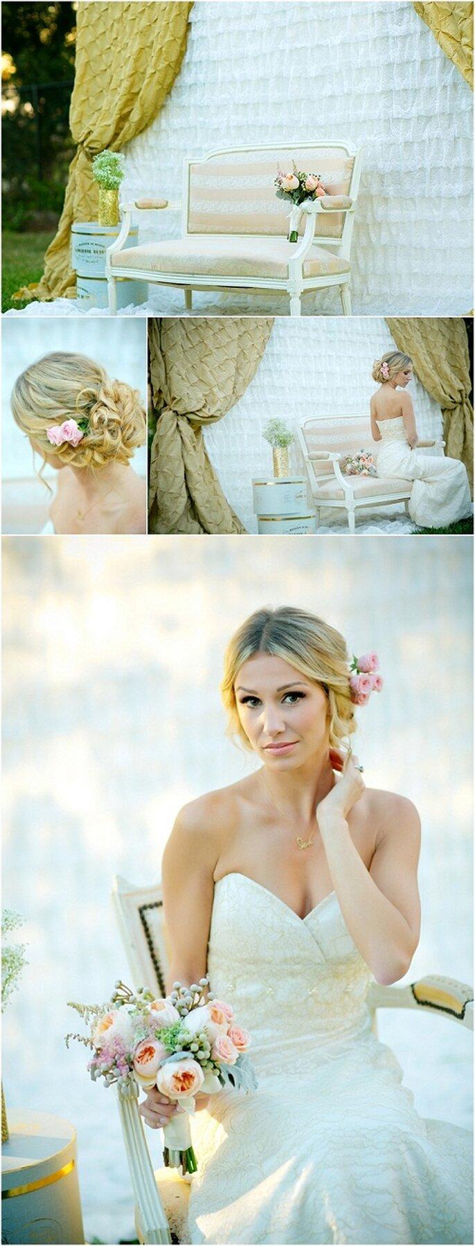 Escenario para fotos de boda con colores dorado y rosa claro - Foto: Set Free Photography