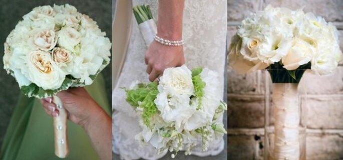 Ramos de novia con flores blancas y color crema - Foto Haute Horticulture