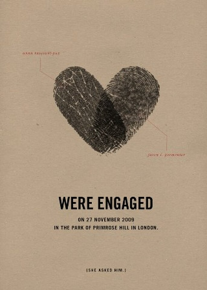 Invitaciones de boda con huellas digitales - Foto: Brooklyn Bride