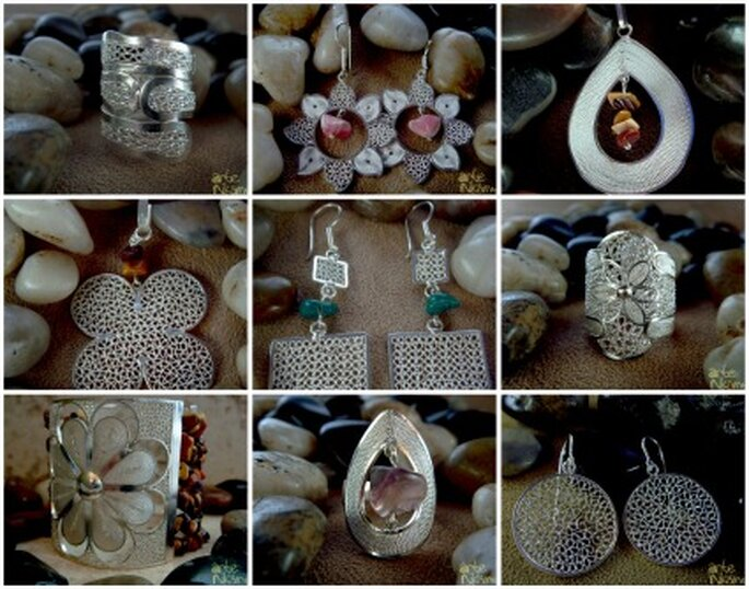 Preciosas joyas para la boda en plata de ley 975. Foto: Arte Nikamu.