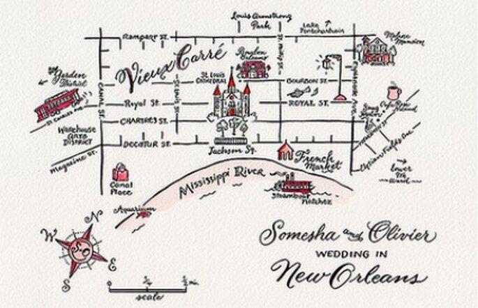 Mapa para boda- Foto: Vía Tul y Flores