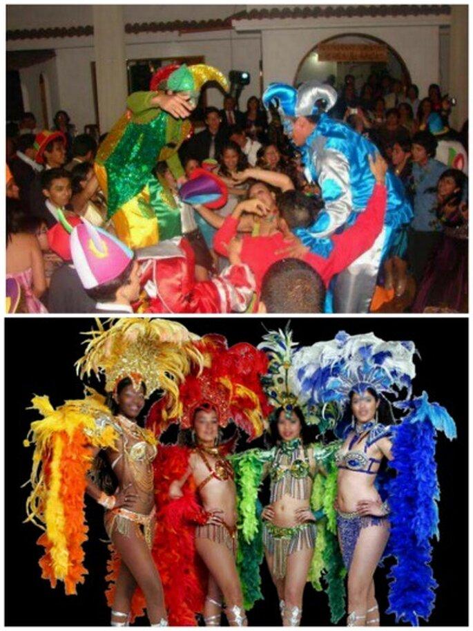 Fiestas temáticas con arlequines y con bailarinas del Carnaval de Rio de Janeiro. Fotos: La Hora Loca Cali