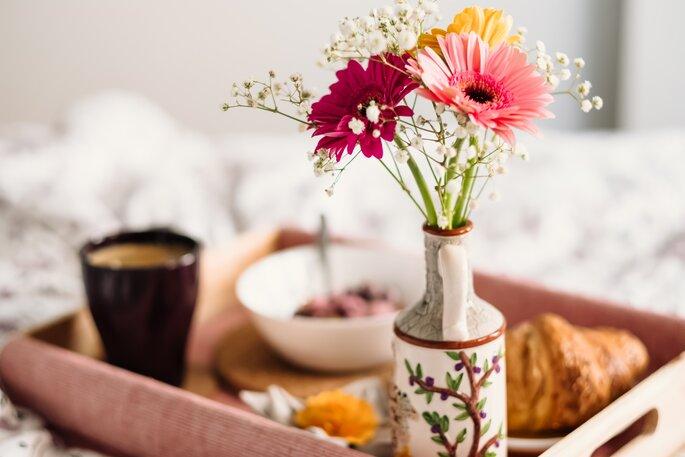 Desayuno para celebrar el primer aniversario de pareja
