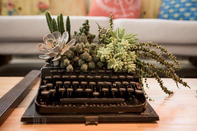 Máquina de escrever que virou jardim