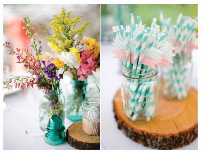 Décoration de mariage avec vases en cristal - Photo Katelyn James