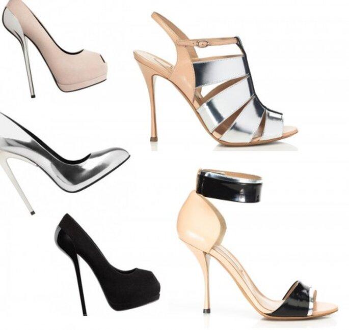 Zapatos de novia 2013 en color metalico, nude y negro - Foto M'oda 'Operandi, Giuseppe Zanotti