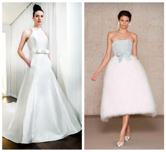 Vestidos de novia con lazo en la cintura. Penhalta 2012 y Óscar de la Renta 2012