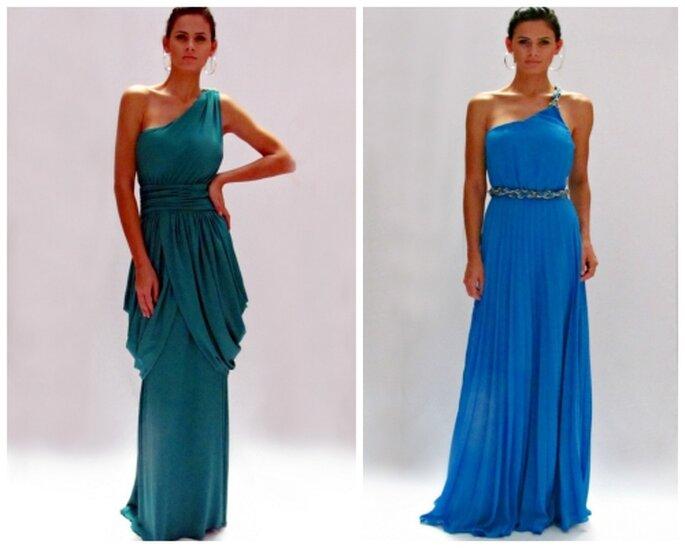 Vestido de lycra con espalda baja y vestido corte imperio de gasa, diseños de MIPA