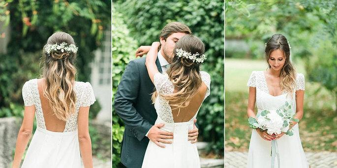 noivos jardim noiva cabelo semi-apanhado com travessão de flores