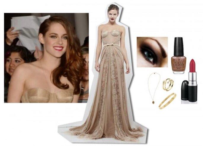 Inspírate en el estilo de Kristen Stewart para una boda elegante - Foto ENews YouTube, vestido Zuhair Murad Facebook, maquillaje makeupgeek.com, esmalte O.P.I, labial M.A.C., pulsera CARTIER, anillo MAGIC, collar alexandani.com