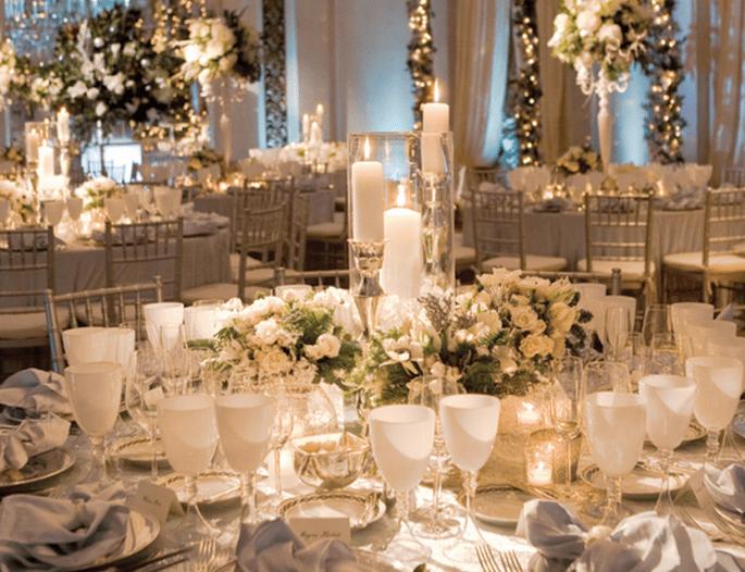 Decoración de mesas de boda inspirada en la Navidad - Foto Javier Gómez