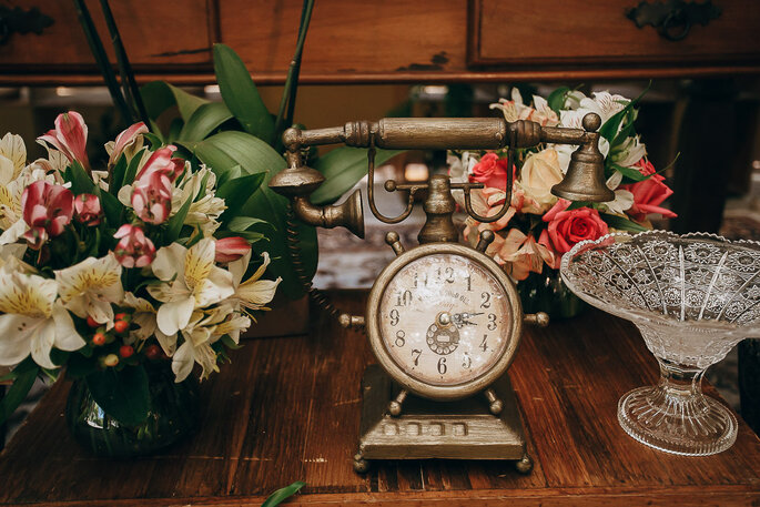 detalhes vintage na decoração de casamento
