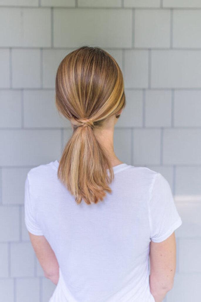 penteado casamento rabo-de-cavalo baixo cabelo liso