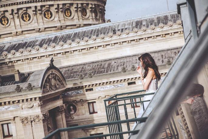 Photo en couleur de la mariée
