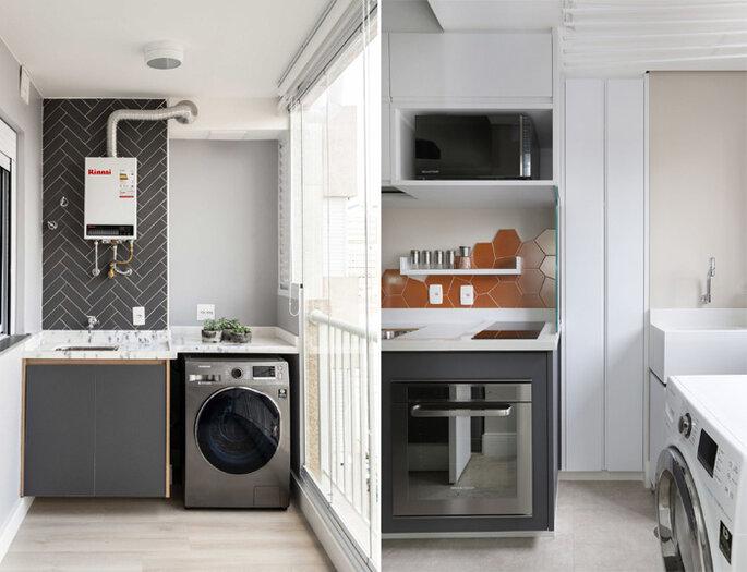 Lavanderia organizada, com eletros embutidos