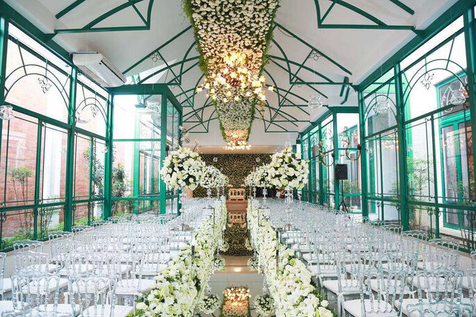 decoração floral branca