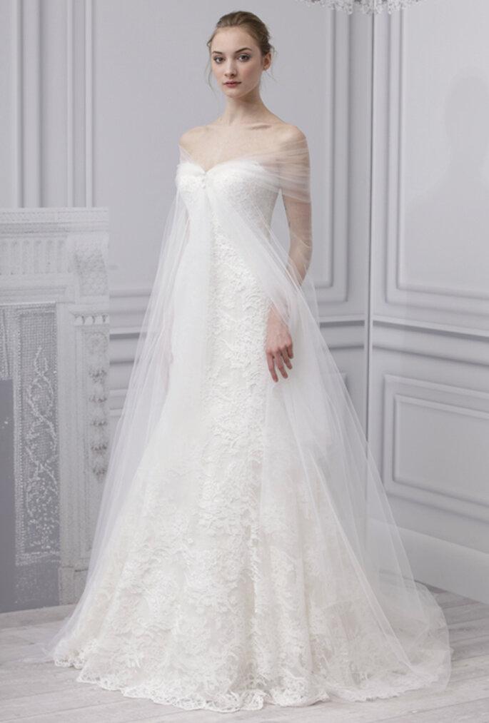 Vestido de novia 2013 de encaje con capa de velo de novia