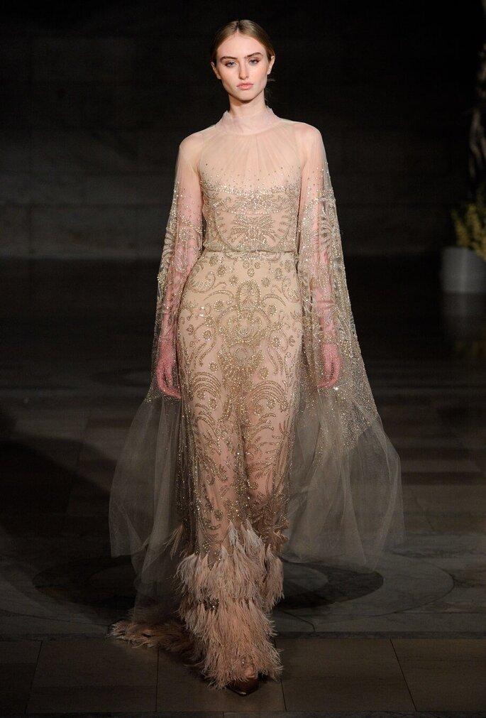 Vestido de novia tono champagne