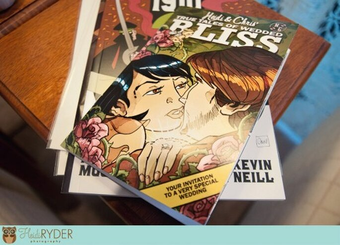 Photo of custom comic bookstyle wedding invitation by Heidi Ryder