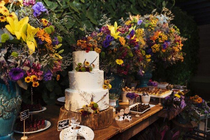 Topo de bolo com flores