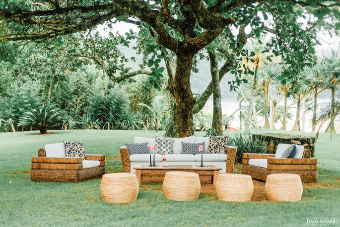Decoração lounge ao ar livre