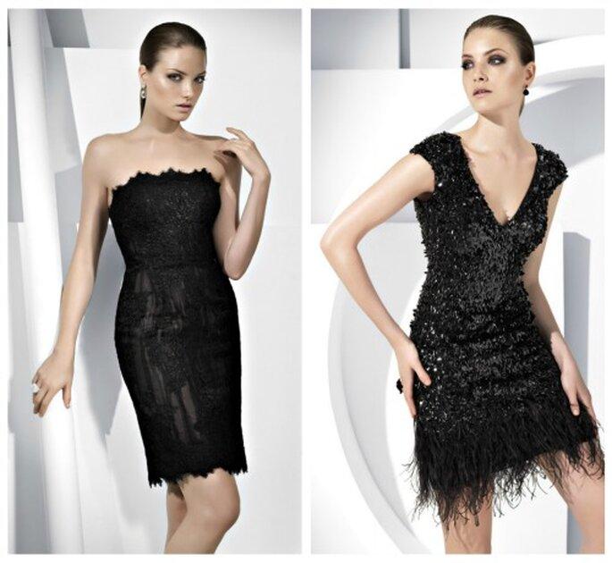 Un color básico, vestido negro para bodas. Foto: Pronovias