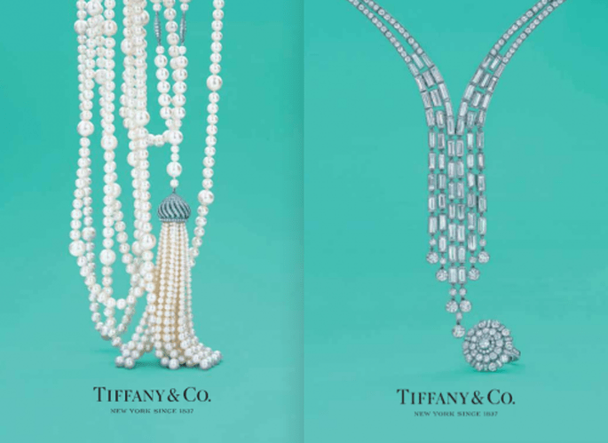 Collares largos de perlas y diamantes para novia inspirados en The Great Gatsby - Foto Tiffany