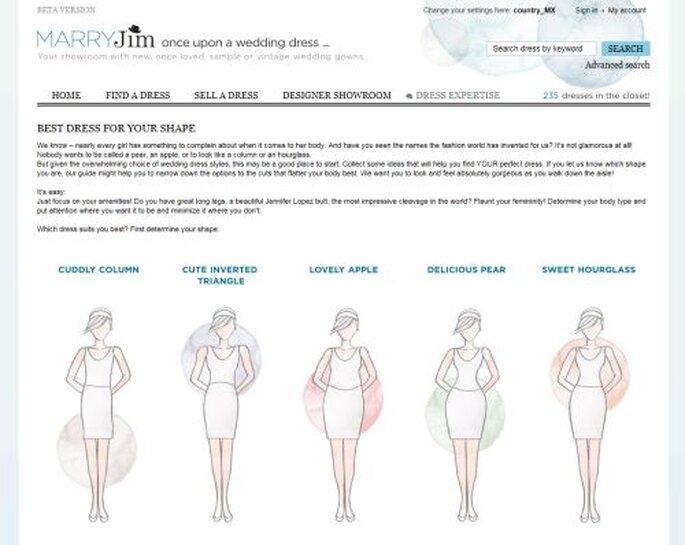 El mejor vestido de novias para la forma de tu cuerpo en MARRYJim