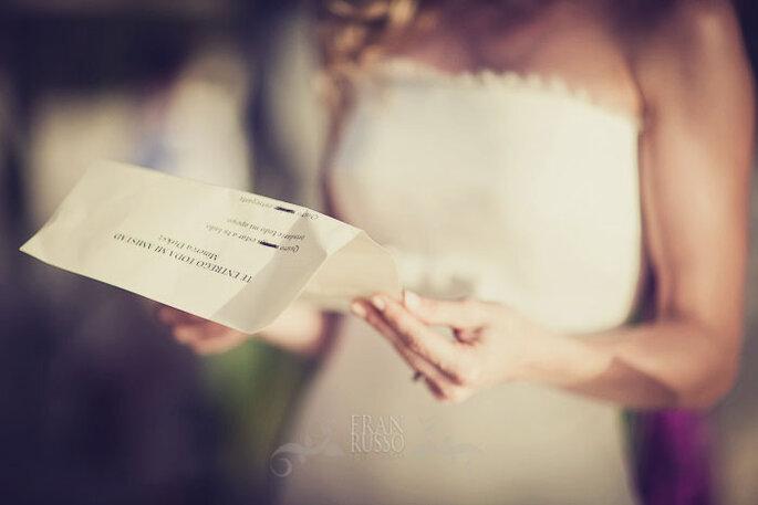 Votos de una novia. Quizá sea bueno hacer una lista de las razones por las que te casas.Foto: Fran Russo