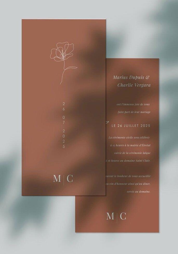 Hochzeitseinladung modern und minimalistisch in braun und hochformat