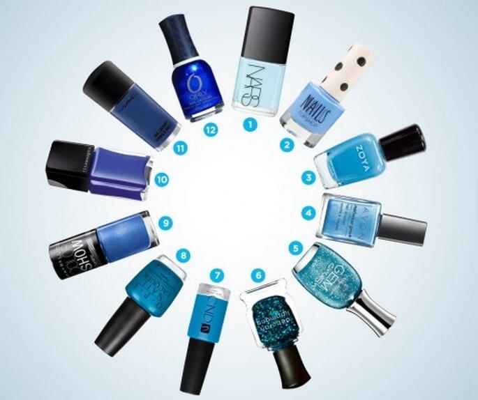 Pinturas de uñas en tonos azules para el 2013 - Foto Colin Cowie Weddings
