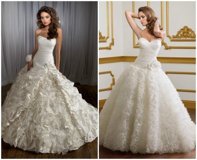 Due modelli principeschi con gonna vaporosa. Mori Lee 2013 Bridal Collection. Foto: www.morilee.com