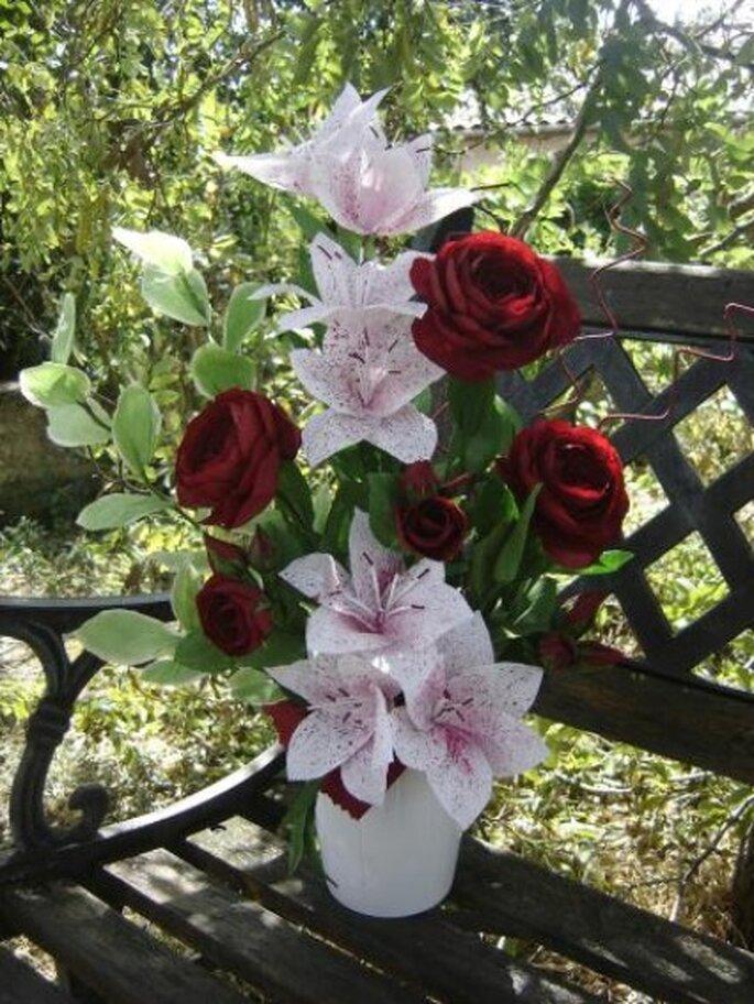 Bouquet de lys et de roses - Création de Anjuya sur creavea.com