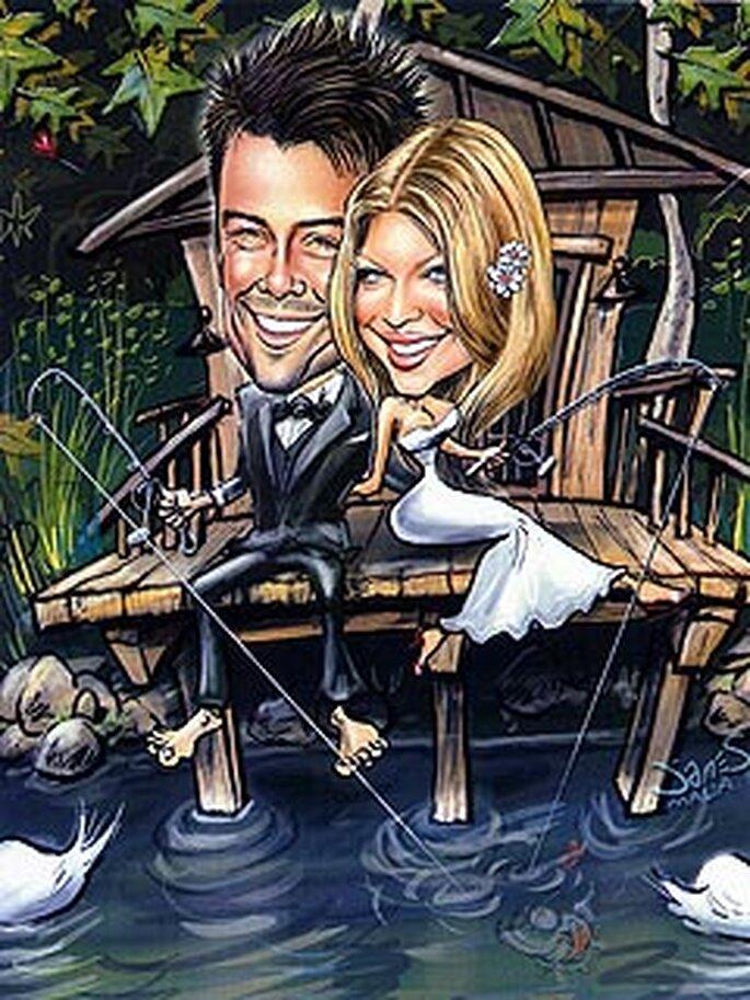caricature de fergie et josh duhamel sur leur faire-part de mariage