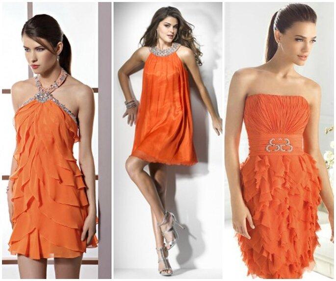 L'arancione fluo è uno dei colori più gettonati in queste stagioni, anche per gli abiti delle invitate a nozze. Da sinistra Demetrios Evening 2013, Flirt 2013 by Maggie Sottero e San Patrick 2013