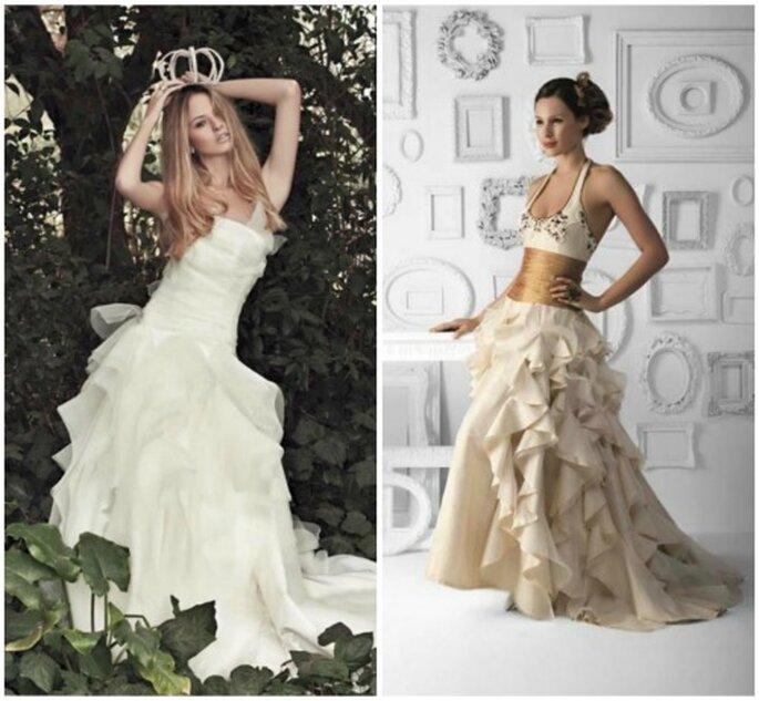 Dos vestidos de novia de falda amplia.