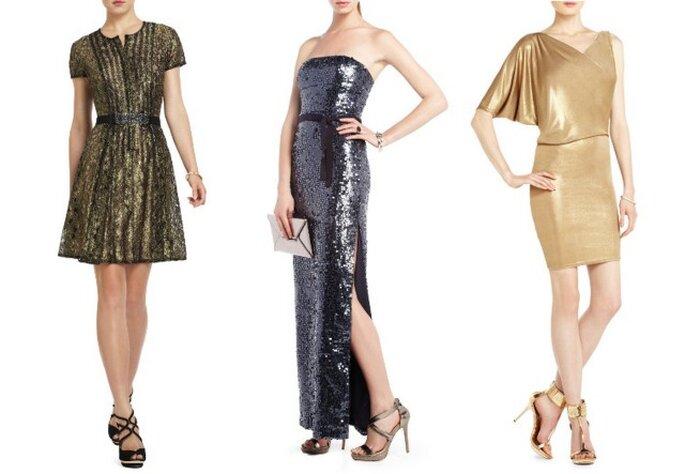 Tres estilos diferentes de vestidos en telas brillantes de BCBGM Max Azria. Fotos: www.bcbg.com