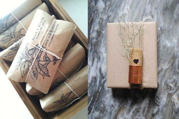 Pacote de papel kraft de lembrancinha para mini wedding