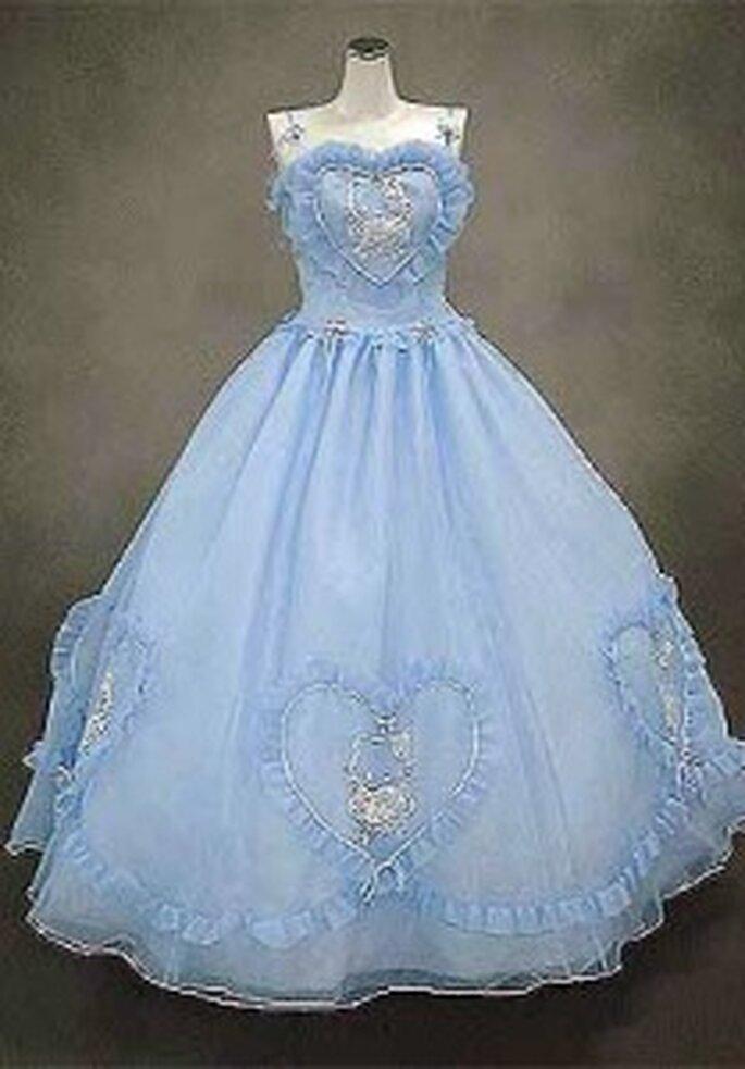 Hello Kitty 2009 - Robe longue en chiffon, coupe princesse, à décolleté avec un coeur, bretelles fines