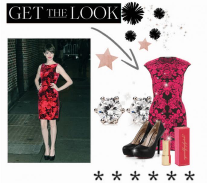 Look en tendencia para invitada de boda inspirado en Anne Hathaway - Foto Collage hecho en Polyvore