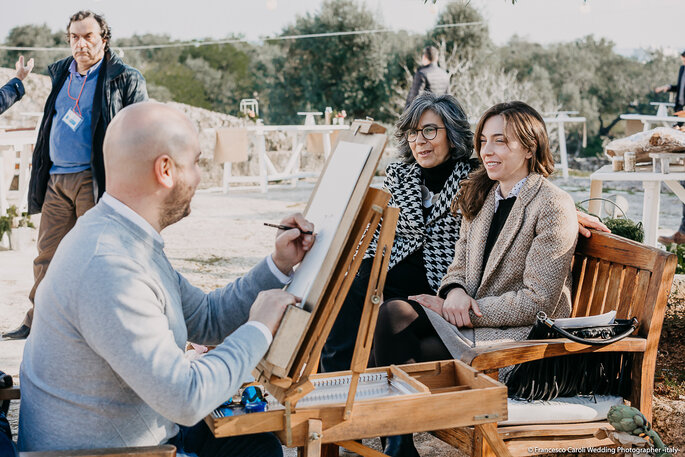 La bravura del Caricaturista Giuseppe Buzzerio - Foto: Francesco Caroli Wedding Photographer