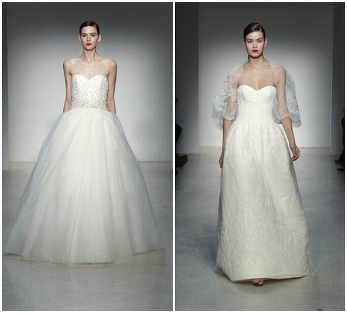 Izquierda: Vestido con falda de tul recamado en perlas. Derecha: Vestido escote corazón con trabajo en relieve.Fotos: www.amsale.com