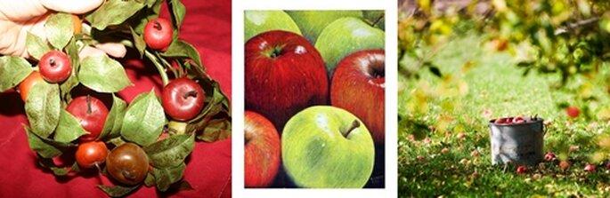 Grüne und rote Äpfel sind perfekt für eine Tischdeko zum Selberbasteln! Foto: Etsy.com theblackcatcloset Angelique, Etsy.com BerrysweetStuff, Etsy.com WaxJunkieCandles Debbie