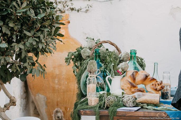 I colori e i sapori della terra sono il fil rouge degli allestimenti coordinati da Elisabetta D'Ambrogio - Foto: Francesco Caroli Wedding Photographer