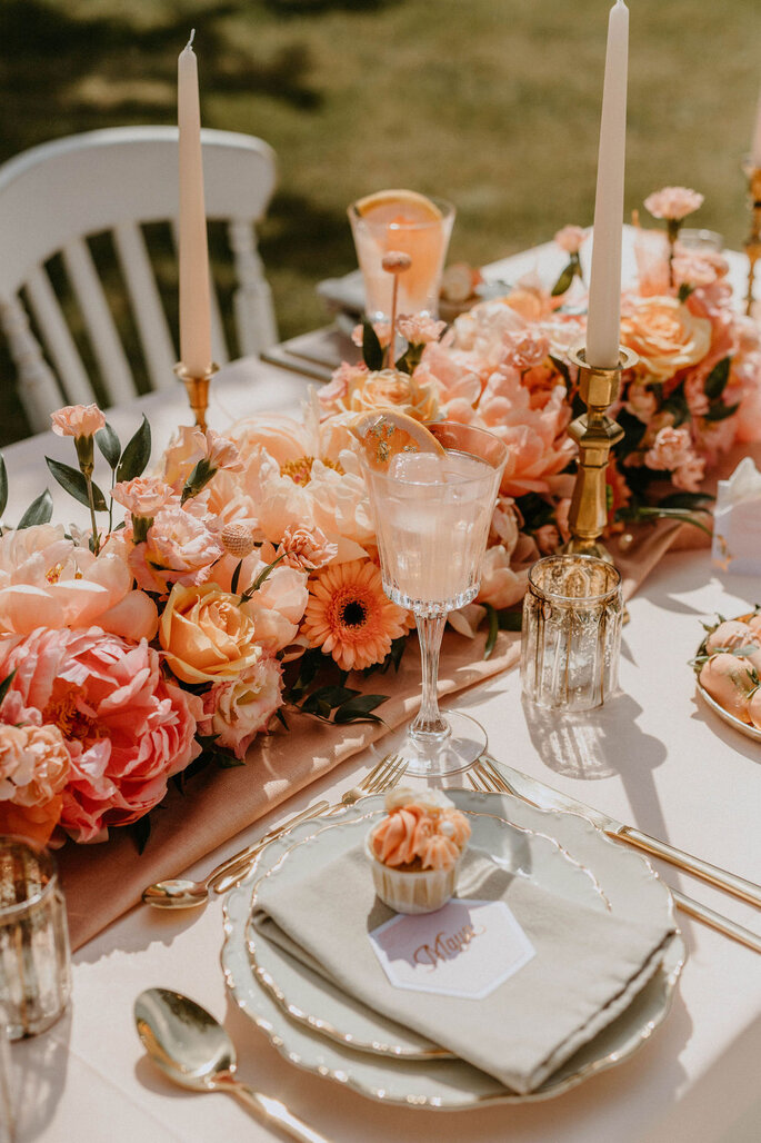 Apricot Rose Hochzeitskonzept Gartenhochzeit