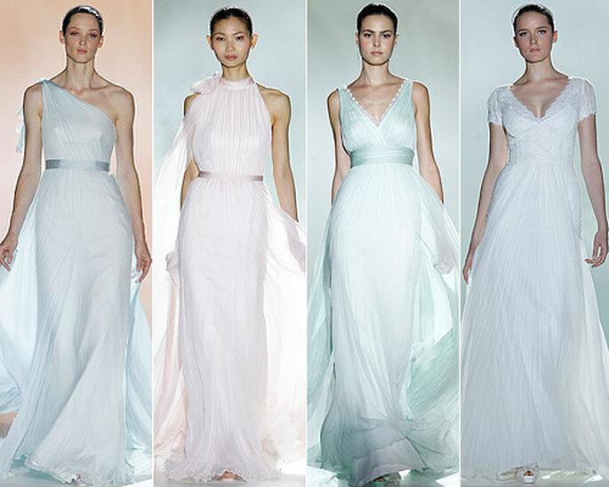 Vestidos de corte helénico en gasa de seda, de Rosa Clará. Foto: Barcelona Bridal Week