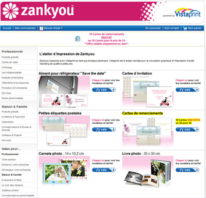 Portail Zankyou sur Vistaprint