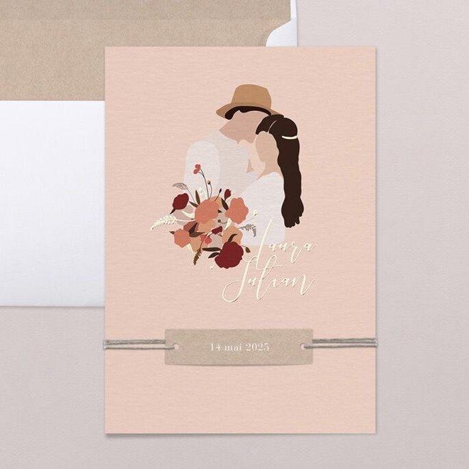 Hochzeitseinladungen Trends mit gezeichnetem Brautpaar Boho Style