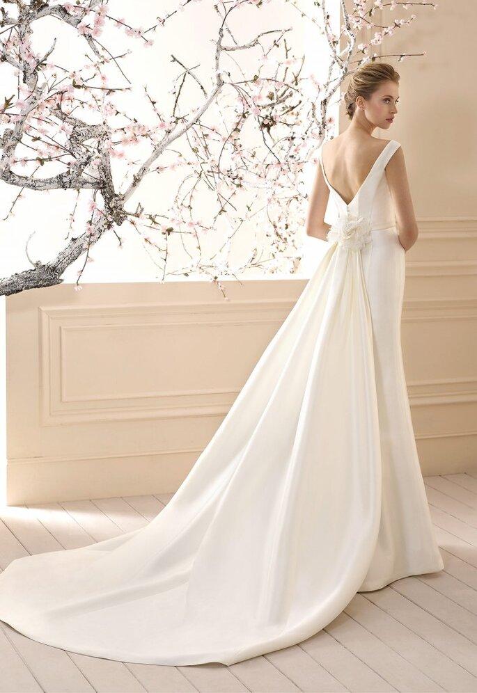 vestido de novia cola desmontable